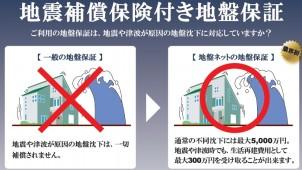 地盤ネット、沈下修正工事物件に「地震補償保険付き地盤保証」