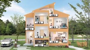 ユニバーサルホーム スキップフロアで2階建てを6層にする家を発売