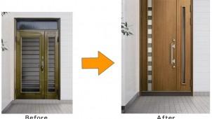 熱流出28%改善するリフォーム専用玄関ドア