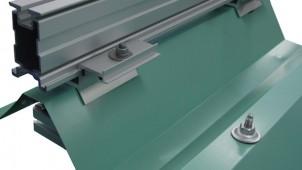 屋根への穴あけ不要、重ね折板用の太陽電池架台