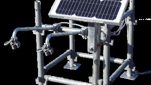 太陽光を蓄電、現場シートを夜間照らす照明システム 三共