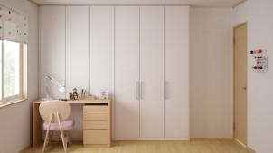 ドア間の壁幅が狭くても壁工事せずに間仕切り収納が設置できるパーツ