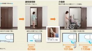 大建工業、一般的なトイレ空間でも車イスで出入り+介助できる新機構ドア