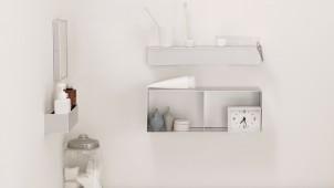 無印良品、壁にかんたんに後付けできるアルミ製の棚・ミラー