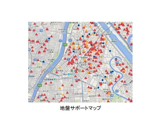 地盤モールでは、同社がこれまでに解析した地盤調査データをウェブ上で確認できる「地盤サポートマップ」も提供。土地の仕入れの検討や販売価格設定に利用できる