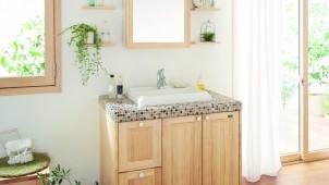 ウッドワン、扉に無垢材使った洗面台を発売