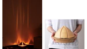 素材は木曽ヒノキ。たき火をモチーフにした間接照明