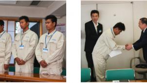 細田工務店、ミャンマーからの技能実習生の入社式を挙行