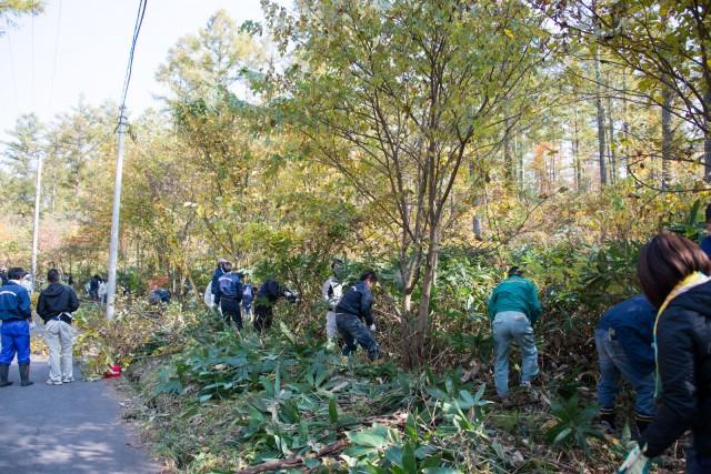 調印式の後、北信商建スタッフと北友会の職人ら約200人で草刈り作業を実施