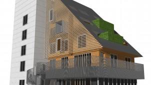 住宅技術の転用で木造大型ビル リヴ2X4工法で建築