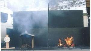 みはし、ヒノキ無垢材による燃焼実験で不燃性能を実証