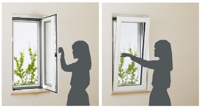 「APW430」ツーアクション窓。内開きなら安全で簡単に窓ガラスの拭き掃除ができ、内倒しなら窓からの落下や防犯面でも安心して換気ができる