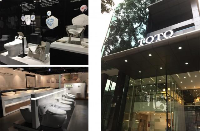 左上:TOTOの技術をわかりやすく展示、左下:数多く配列した衛生陶器、右:ホーチミンショールーム外観