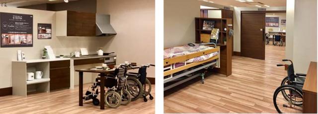バリアフリー住宅(写真左:LDK、写真右:寝室)