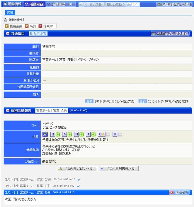 操作画面の例。顧客情報を細かく共有できる