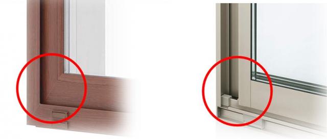 今回発表した「APW330」木目仕様(左)。樹脂形材を溶着した構造でコーナーの接合部の段差が小さくつなぎ目が自然。従来のアルミ系窓(右)と比べると一目瞭然。