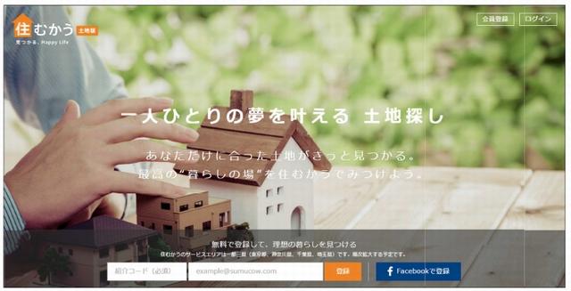 「住むかう土地版」のトップページ(https://sumucow.jp/tochi/)