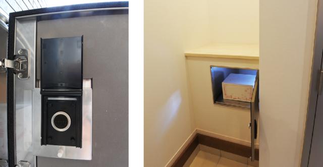 (左)捺印システム。居住者の受領印が内蔵されている。(右)宅内のようす。表に出ることなく宅内で荷物を回収できる。