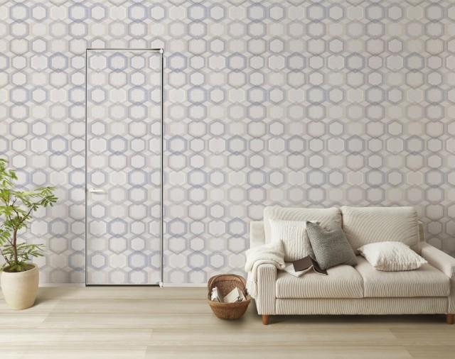 壁とドアを連続した色柄で揃えることが可能。なお「ファミット」はサンゲツとの共同プロモーションで認知を上げる。