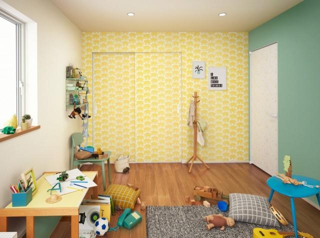 さまざまなパターンの壁紙を貼り分けた子ども部屋施工例。写真右手が「ファミット」片開きドア、正面が同クローゼットドア。