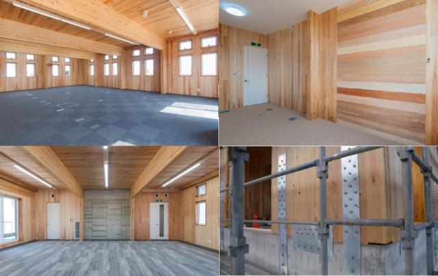 一階の事務室(左上)と応接室(右上)。東北地方の広葉樹、針葉樹を多用し木質感あふれる空間を実現。二階会議室(左下)は鉄筋コンクリート造とCLTによるハイブリッド構造。
