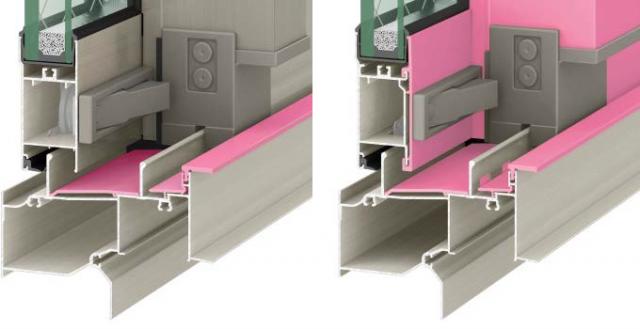 左:一般的なアルミ防火戸 右:高性能ハイブリッド窓「防火戸FG‐L」 ピンクの部分が樹脂