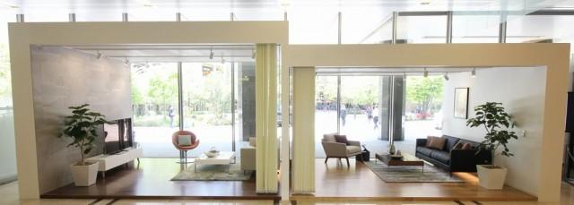 大和ハウス東京ビル1階に設けられた「天井高ひろがり体感ブース」。左が天井高2800、右が天井高2400