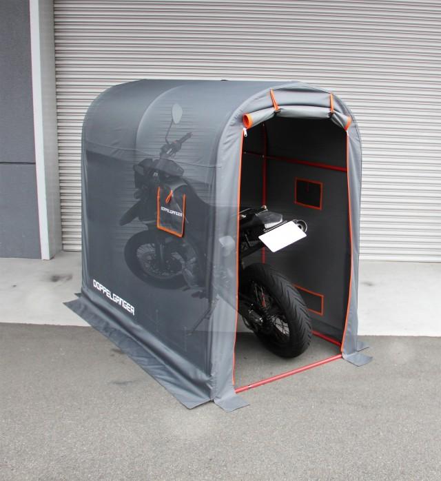 Mサイズには中型バイクを1台駐輪可能