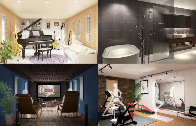 タイル貼り浴室を2階に設置したり音楽室やシアタールーム、フィットネスルーム等、音や振動を気にせず設置できる