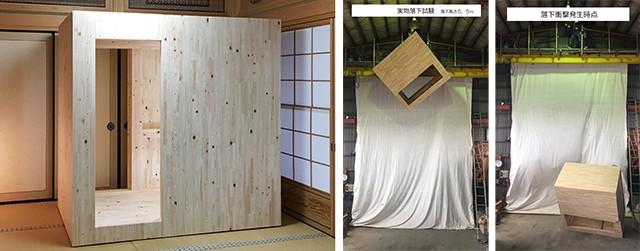 (左)減災寝室シェルターを設置した様子 (右)試験実証データの一部