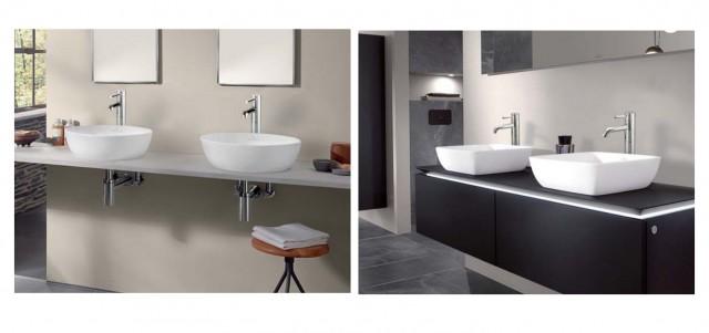 「置き型手洗器」(左)H125x径430mm、13万3000円。(右)H125xW410xD410mm、12万9000円。