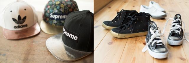 メタルコーティングを施した帽子と靴