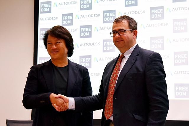 フリーダムアーキテクツ代表取締役社長の鐘撞正也氏(左)と米オートデスクインクビルディングデザイン担当ディレクターのゲイリー・ワイアット氏(右)