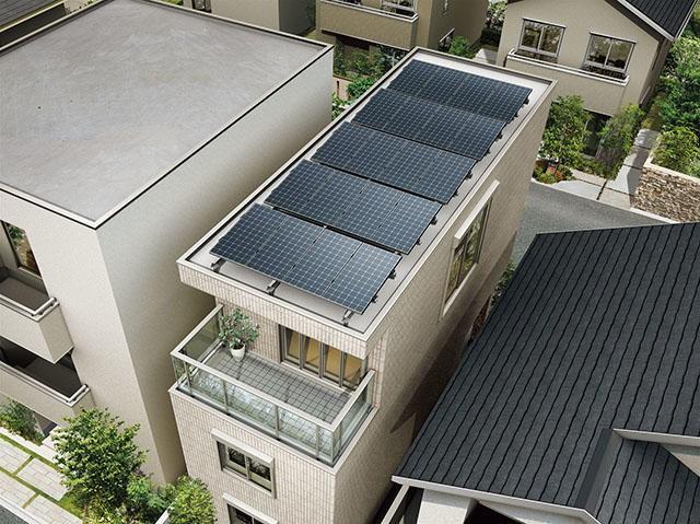 都市部の狭小3階建てに太陽光発電約5kWを搭載しZEHを実現