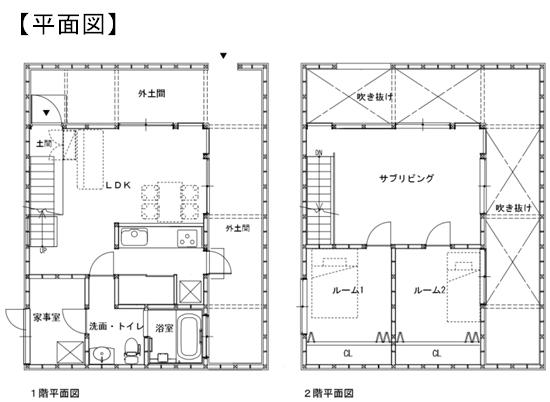 eco loeuf (エコルフ)の新プラン「土間のある家」平面図