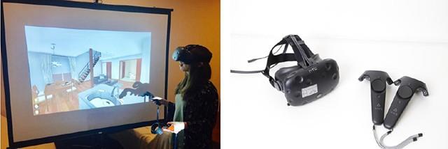 左:VRシステム体感中の様子 右:ヘッドマウントディスプレイ