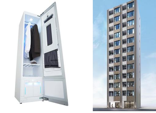 全住戸に標準搭載される「LG styler(スタイラー)」(左)とコンパクトマンション「ヴァース クレイシア銀座東」(右)