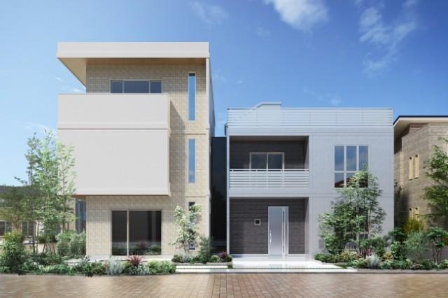 鉄筋コンクリート造の賃貸住宅棟(左)と自由設計戸建住宅「キューブフィット」棟(右)の両方を 見られるレスコハウス 新川崎展示場