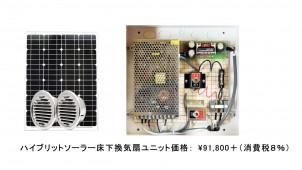 ソーラー発電を活用するハイブリッド型床下換気扇を発売