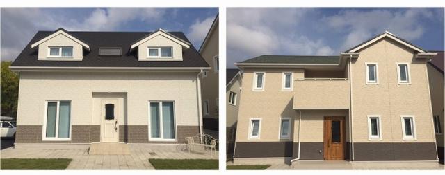 竣工したモデルハウスの外観。左がエコノミータイプ、右がミドルタイプ