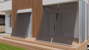 YKKAP、窓の外で日射を8割超カットする「洋風すだれ」発売