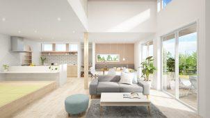 ユニバーサルホーム、リビング天井高3.7mの新商品「ラビスタ」発表