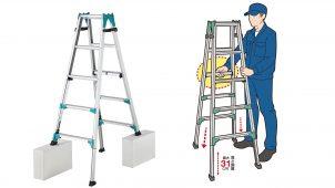 立ったまま、4脚同時に伸縮操作ができるはしご兼脚立を発売