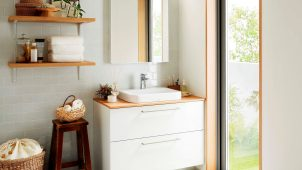 TOTO、パーツ・色の組み合わせ自由な洗面化粧台「ドレーナ」