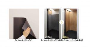 アイカ、エレベータの改修に適したマグネット付きメラミン化粧板