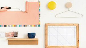 水平・垂直・45°のガイド付き壁紙でDIYをサポート