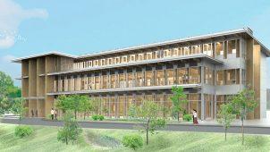 住友林業、筑波研究所・新研究棟の建方が完了 「木を科学する」研究拠点に