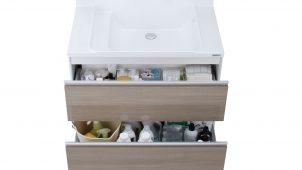 ハウステック、普及価格帯洗面化粧台の収納力を約2倍に