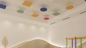 大建工業、色・形状を特注できる天井用吸音パネル