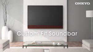オンキョー、テレビと一体化するカスタム仕様の壁掛けスピーカー